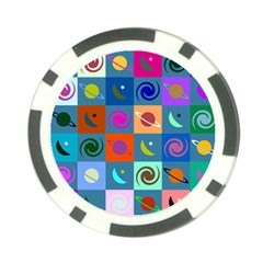 Space Month Saturnus Planet Star Hole Multicolor Poker Chip Card Guard by AnjaniArt
