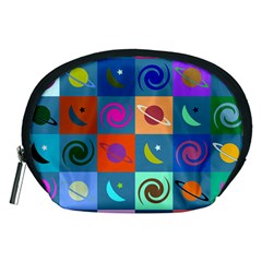Space Month Saturnus Planet Star Hole Multicolor Accessory Pouches (medium)  by AnjaniArt
