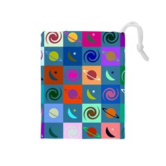 Space Month Saturnus Planet Star Hole Multicolor Drawstring Pouches (medium)  by AnjaniArt