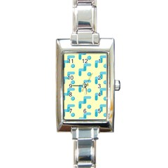 Squiggly Dot Pattern Blue Yellow Circle Rectangle Italian Charm Watch by AnjaniArt