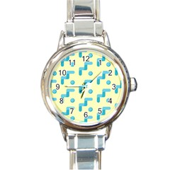 Squiggly Dot Pattern Blue Yellow Circle Round Italian Charm Watch