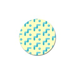 Squiggly Dot Pattern Blue Yellow Circle Golf Ball Marker (10 Pack) by AnjaniArt