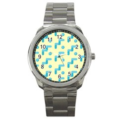 Squiggly Dot Pattern Blue Yellow Circle Sport Metal Watch by AnjaniArt