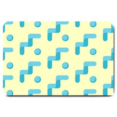 Squiggly Dot Pattern Blue Yellow Circle Large Doormat  by AnjaniArt