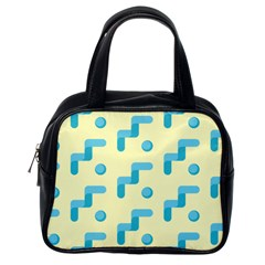 Squiggly Dot Pattern Blue Yellow Circle Classic Handbags (one Side)