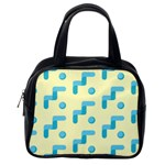 Squiggly Dot Pattern Blue Yellow Circle Classic Handbags (One Side) Front