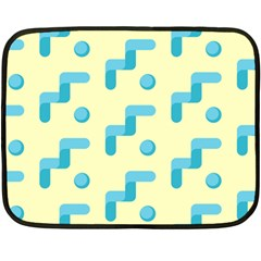 Squiggly Dot Pattern Blue Yellow Circle Fleece Blanket (mini) by AnjaniArt