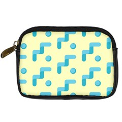 Squiggly Dot Pattern Blue Yellow Circle Digital Camera Cases by AnjaniArt