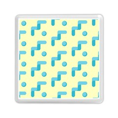 Squiggly Dot Pattern Blue Yellow Circle Memory Card Reader (square)  by AnjaniArt