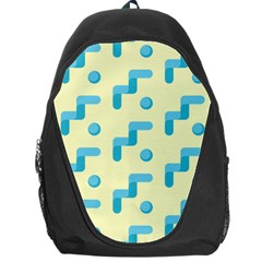 Squiggly Dot Pattern Blue Yellow Circle Backpack Bag