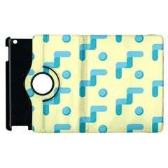 Squiggly Dot Pattern Blue Yellow Circle Apple Ipad 2 Flip 360 Case by AnjaniArt