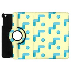 Squiggly Dot Pattern Blue Yellow Circle Apple Ipad Mini Flip 360 Case by AnjaniArt