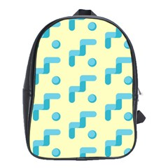 Squiggly Dot Pattern Blue Yellow Circle School Bags (xl)  by AnjaniArt