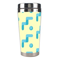 Squiggly Dot Pattern Blue Yellow Circle Stainless Steel Travel Tumblers by AnjaniArt