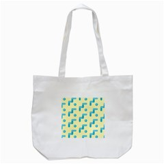 Squiggly Dot Pattern Blue Yellow Circle Tote Bag (white) by AnjaniArt
