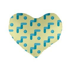 Squiggly Dot Pattern Blue Yellow Circle Standard 16  Premium Flano Heart Shape Cushions