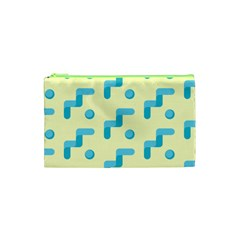 Squiggly Dot Pattern Blue Yellow Circle Cosmetic Bag (xs) by AnjaniArt