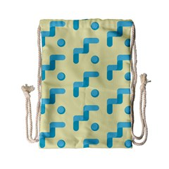 Squiggly Dot Pattern Blue Yellow Circle Drawstring Bag (small) by AnjaniArt