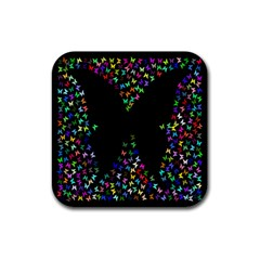 Space Butterflies Rubber Square Coaster (4 Pack)