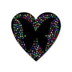 Space Butterflies Heart Magnet by AnjaniArt