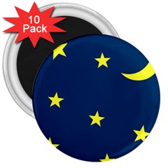 Star Moon Blue Sky 3  Magnets (10 Pack)
