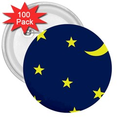 Star Moon Blue Sky 3  Buttons (100 Pack)