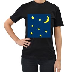 Star Moon Blue Sky Women s T Shirt (black) (two Sided)