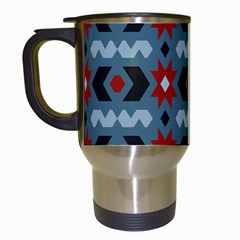 Star Wave Chevron Grey Gray Travel Mugs (white) by AnjaniArt