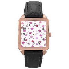 Star Purple Rose Gold Leather Watch