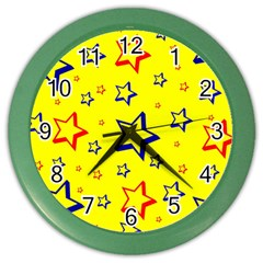 Star Yellow Red Blue Color Wall Clocks by AnjaniArt