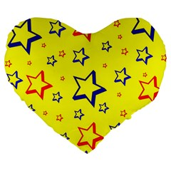 Star Yellow Red Blue Large 19  Premium Heart Shape Cushions