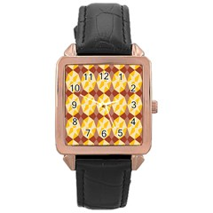 Star Brown Yellow Light Rose Gold Leather Watch  by AnjaniArt