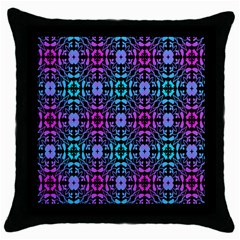 Star Flower Background Pattern Colour Throw Pillow Case (black) by AnjaniArt