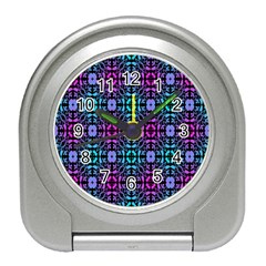 Star Flower Background Pattern Colour Travel Alarm Clocks