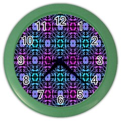 Star Flower Background Pattern Colour Color Wall Clocks by AnjaniArt