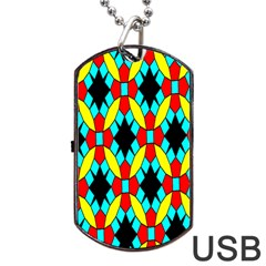 Tiling Flower Star Dog Tag Usb Flash (two Sides) by AnjaniArt