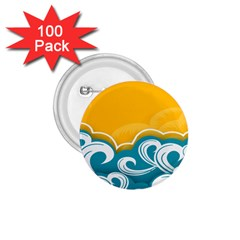 Summer Sea Water Wave Tree Yellow Blue 1 75  Buttons (100 Pack)  by AnjaniArt