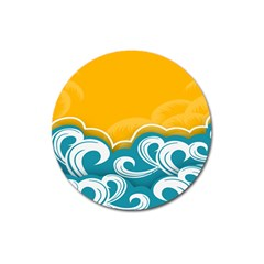 Summer Sea Water Wave Tree Yellow Blue Magnet 3  (round) by AnjaniArt