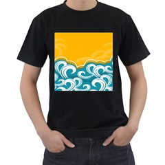 Summer Sea Water Wave Tree Yellow Blue Men s T Shirt (black) (two Sided) by AnjaniArt