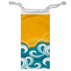 Summer Sea Water Wave Tree Yellow Blue Jewelry Bag