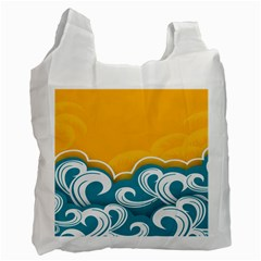 Summer Sea Water Wave Tree Yellow Blue Recycle Bag (one Side) by AnjaniArt