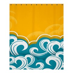 Summer Sea Water Wave Tree Yellow Blue Shower Curtain 60  X 72  (medium)  by AnjaniArt