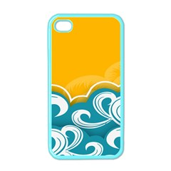 Summer Sea Water Wave Tree Yellow Blue Apple Iphone 4 Case (color)