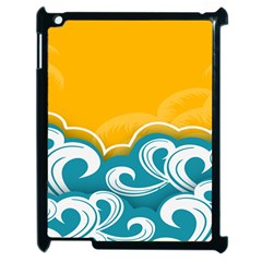 Summer Sea Water Wave Tree Yellow Blue Apple Ipad 2 Case (black)