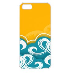 Summer Sea Water Wave Tree Yellow Blue Apple Iphone 5 Seamless Case (white)