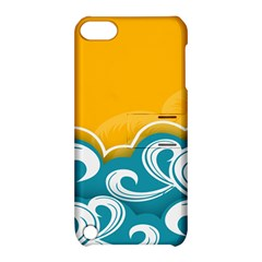 Summer Sea Water Wave Tree Yellow Blue Apple Ipod Touch 5 Hardshell Case With Stand