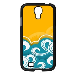 Summer Sea Water Wave Tree Yellow Blue Samsung Galaxy S4 I9500/ I9505 Case (black)