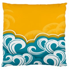 Summer Sea Water Wave Tree Yellow Blue Standard Flano Cushion Case (two Sides) by AnjaniArt