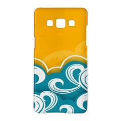 Summer Sea Water Wave Tree Yellow Blue Samsung Galaxy A5 Hardshell Case  by AnjaniArt