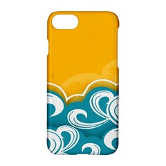 Summer Sea Water Wave Tree Yellow Blue Apple Iphone 7 Hardshell Case by AnjaniArt